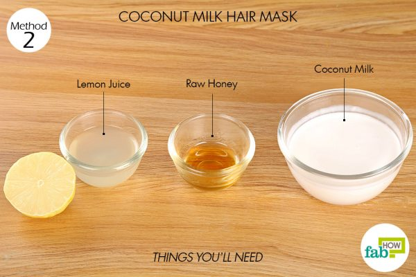 things you'll need to use coconut milk to make hair mask for frizzy hair