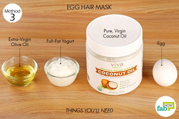 things you'll need to use egg to make hair mask for frizzy hair