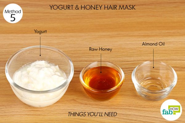 things you'll need to use yogurt to make hair mask for frizzy hair