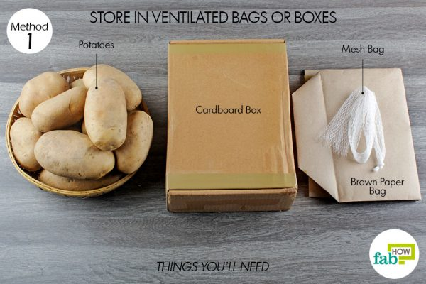 things you'll need to store potatoes in ventilated bags