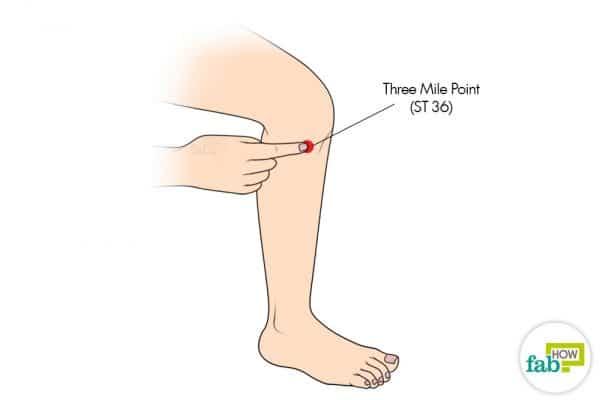 Use the Three Mile acupressure point