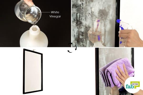 Use diluted white vinegar to clean cloudy glasses and mirrors