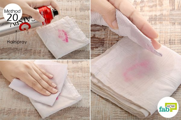 Use hairspray to remove lipstick stain on clothes
