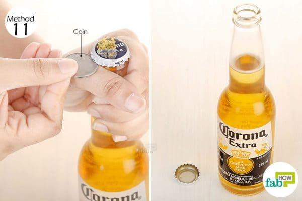 Use a coin as a lever to open a beer bottle without opener