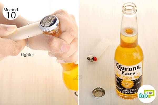 Fit the back of the lighter under the crown to open beer bottle without opener