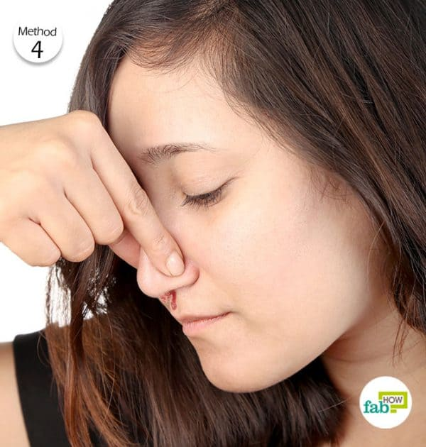 Pinch your nose for 10 minutes to stop the bleeding