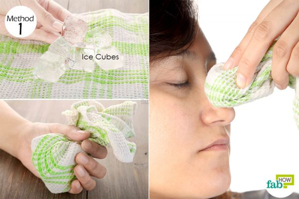 Place an ice compress on the bridge of your nose to stop a nose bleed