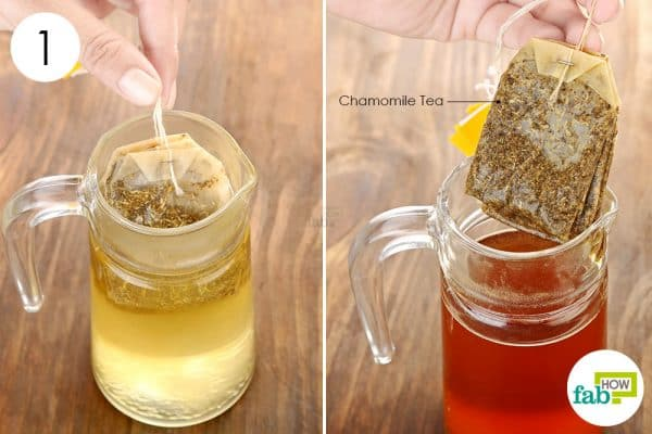 Brew a cup of chamomile tea to lighten hair naturally