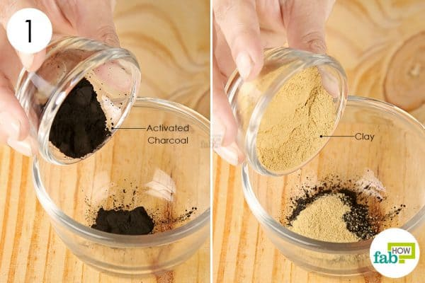 Mix activated charcoal and clay powder in a bowl to make a diy face mask for blackhead