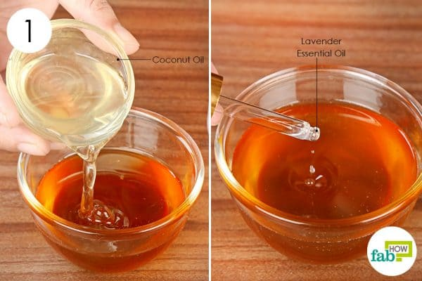 Combine coconut oil, honey and lavender oil to make DIY face mask for dry skin