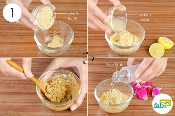 Mix fuller's earth, lemon juice, and rose water to form a paste to make diy face mask for oily skin