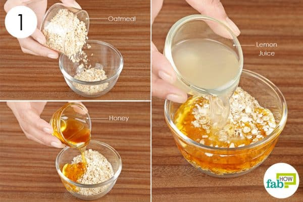 Combine oats, honey, and lemon juice to make a diy face mask for oily skin