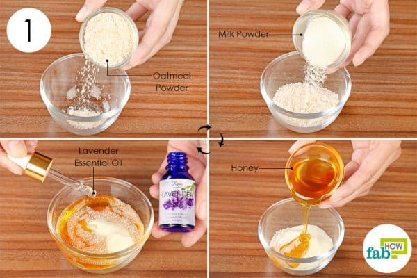 Combine powdered oatmeal and milk powder with honey and lavender oil to make a DIY mask for dry skin