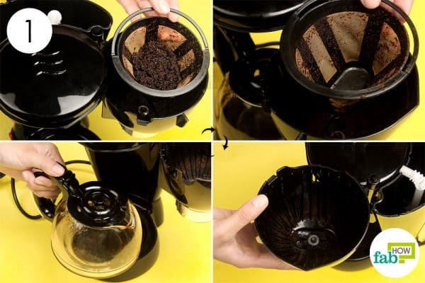Disassemble the coffee maker; throw out the coffee grounds and coffee