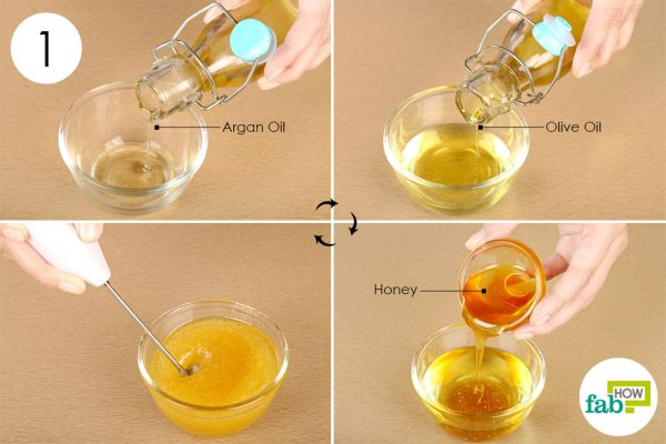 Mix olive and argan oil with and honey; whisk all ingredients to get a thorough blend
