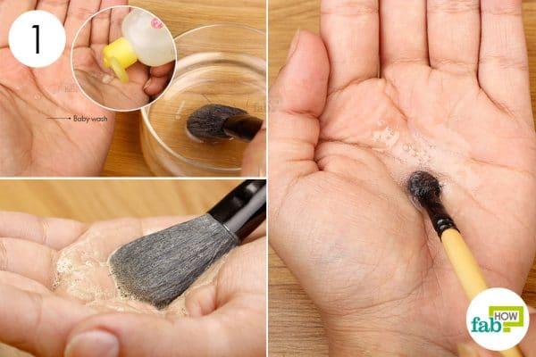 Wash the brush using water and baby wash