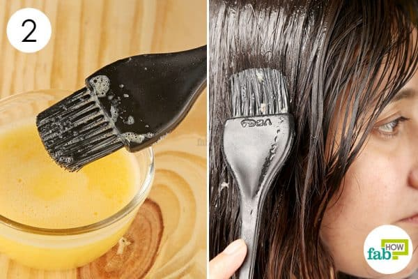 Apply the DIY egg-castor oil hair mask to promote hair growth