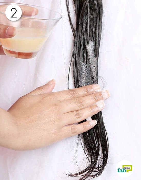 Apply the whisked egg on the oiled hair strands and wash to get coconut oil out of hair