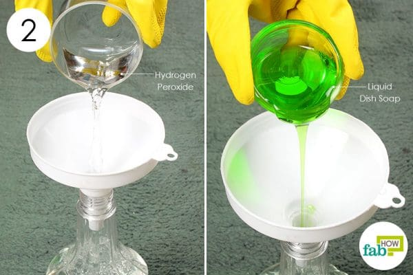 Mix water, hydrogen peroxide, and dish soap in a spray bottle