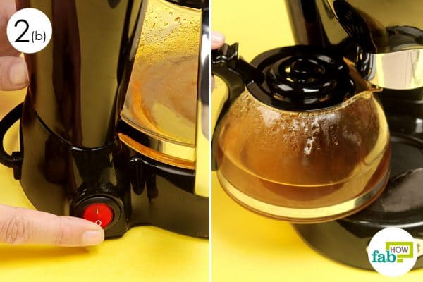 Brew the solution in the reassembled coffee maker for cleaning
