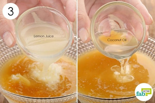 Add in lemon juice and coconut oil to lighten hair naturally