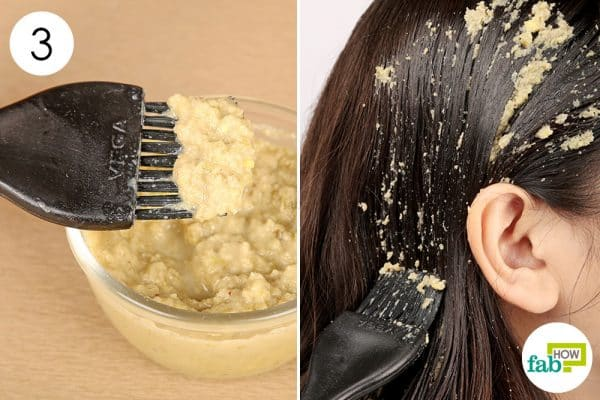 Apply the prepared mask on your hair and scalp; repeat 1 to 2 times a week for long and fizz-free hair