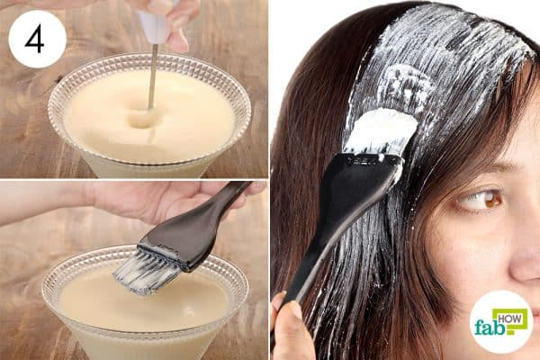 Whisk everything up and apply to lighten hair naturally