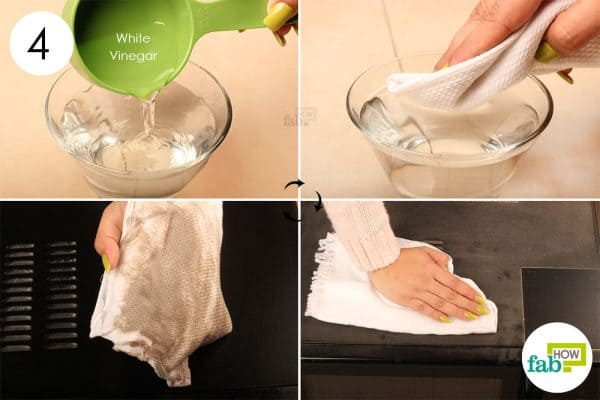 Wipe the exterior surfaces using warm vinegar solution