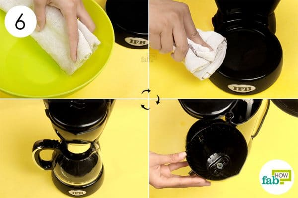 Wipe the exterior and reassemble the coffee maker