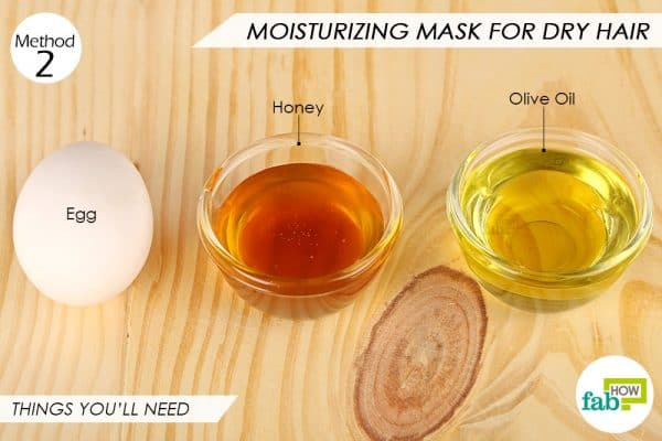 Things needed to make an egg mositurizing mask for dry hair