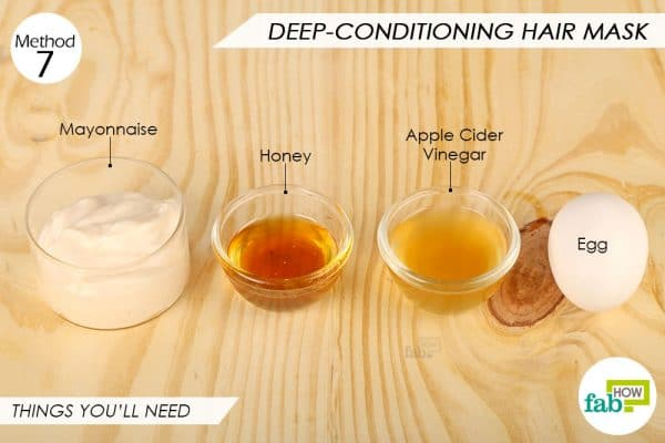 Things needed to make DIY deep conditioning egg hair mask