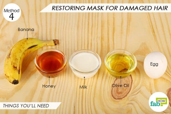 Things needed to make restoring egg mask for damaged hair
