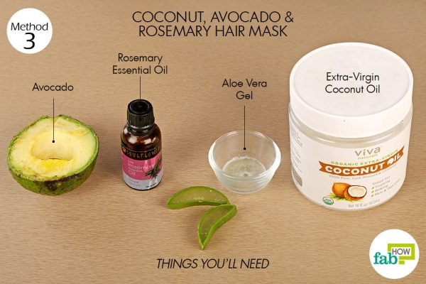 Things needed to make coconut, avocado and rosemary hair mask for hair growth