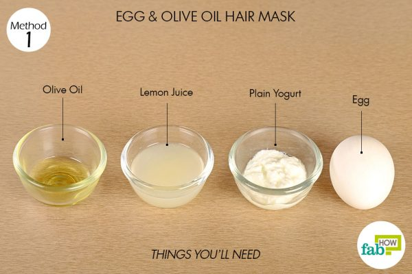 Things needed to make egg and olive oil hair mask for hair growth