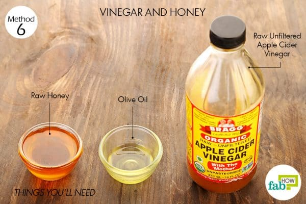 things you'll need to use vinegar and honey to lighten hair naturally