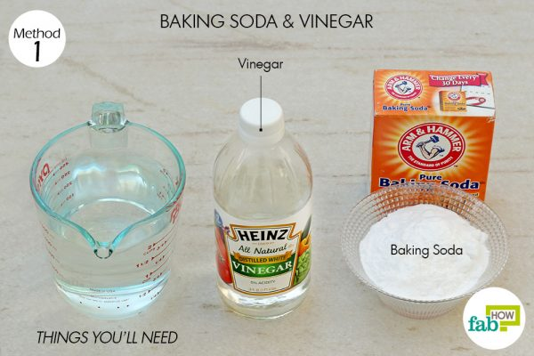 things you'll need to use baking soda and vinegar to unclog a drain