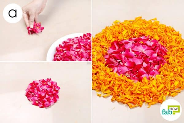 Begin by making a small circle of rose petals; follow it up with a layer of dark marigold petals