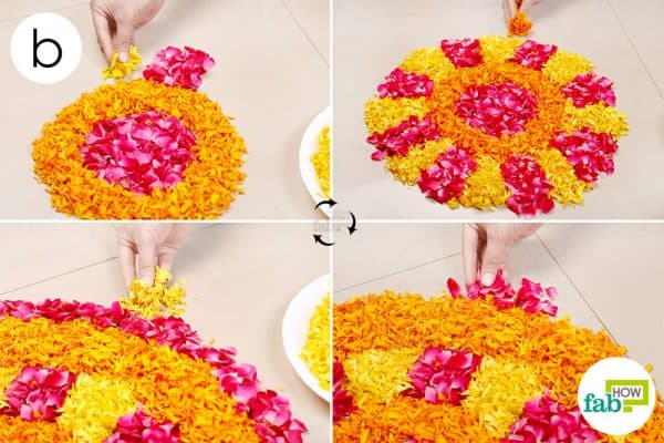 Create a third layer by filling alternate section with marigold and rose petals; repeat to create a rose and marigold circle