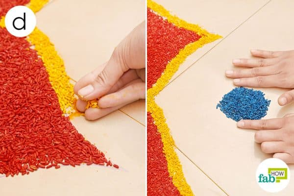 Finish with a yellow line; place a blue dot between each petal to create a beautiful rangoli design