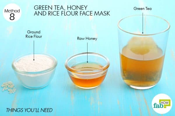 Things you'll need to make green tea face mask to brighten skin