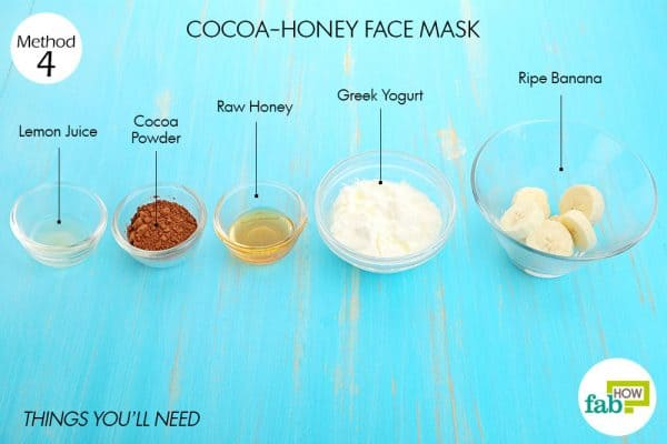 Things you'll need to make cocoa honey face mask to brighten skin