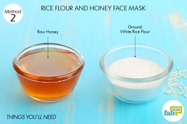 Things you'll need to make rice flour face mask to brighten skin