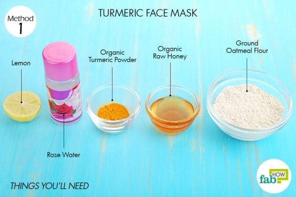 Things you'll need to make turmeric face mask to brighten skin