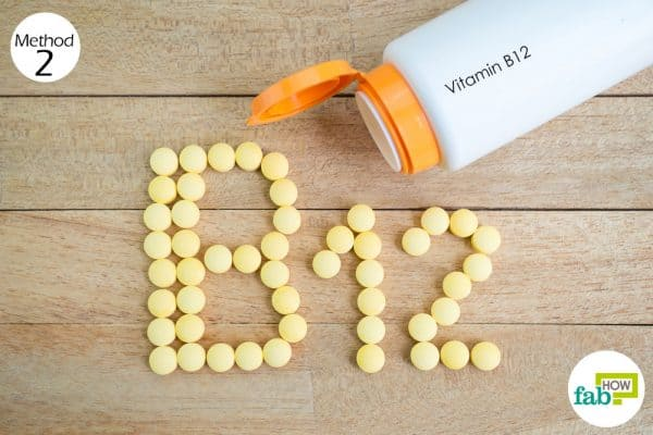 Take the daily recommended dosage of Vitamin B12 supplements to get rid of anemia