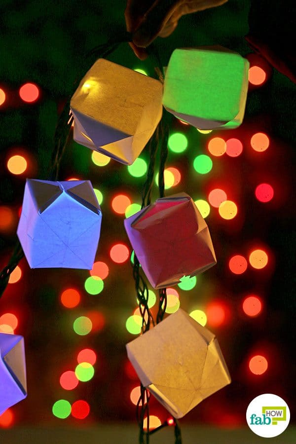 Hang these paper cube fairy lights on the walls to brighten up your home this Diwali
