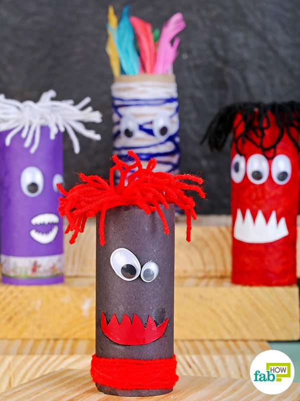Your DIY toilet paper roll monsters are ready