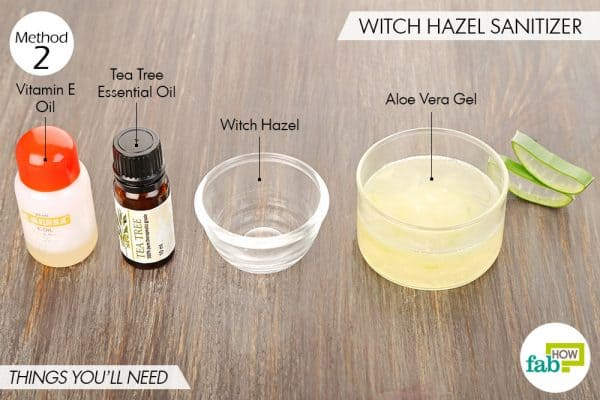 Things needed to make your own hand sanitizer using witch hazel