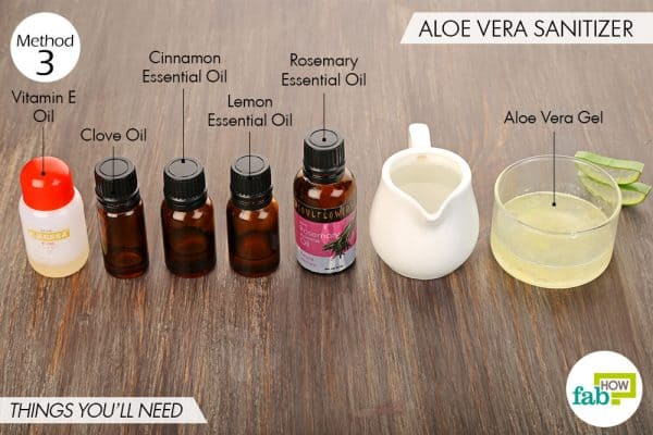 Things needed to make your own hand sanitizer using aloe vera