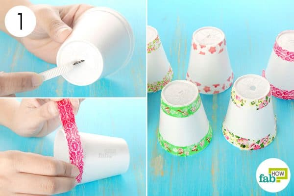 Make a slit at the base and decorate the top and bottom using Washi tape