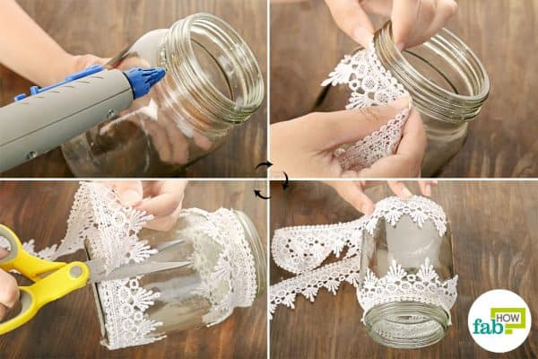 Glue on the lace on the outer surface of the Mason jar